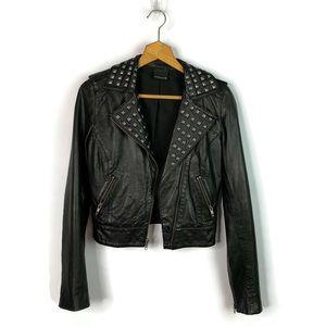 Trouve Black Studded Leather Moto Jacket sz XS